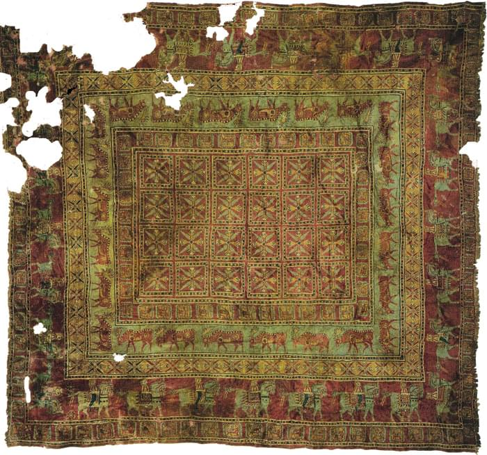 The Pazyryk rug is one of the oldest carpets in the world, dating around the 5th c. BC, now in the Hermitage Museum in St. Petersburg, Russia